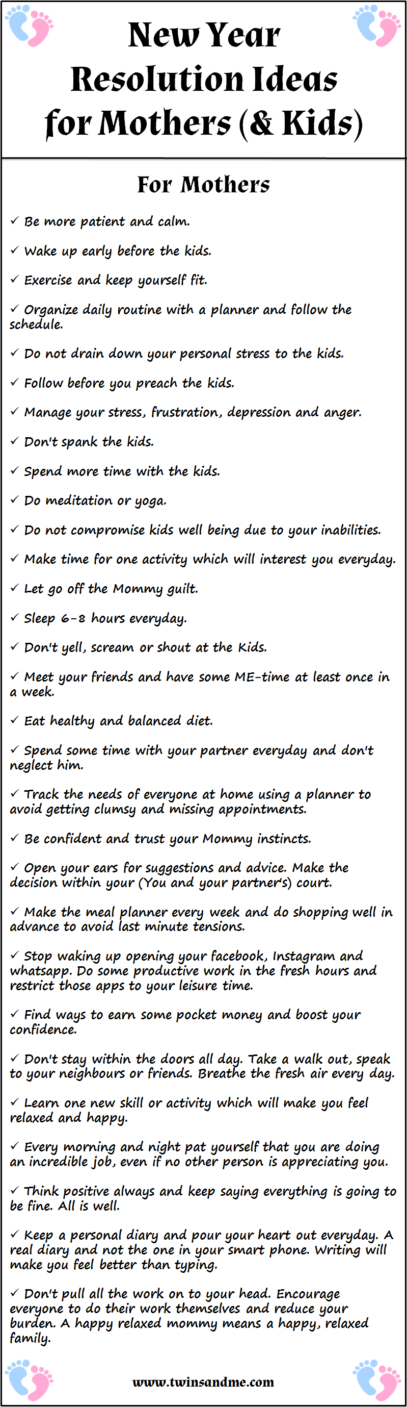 The New Year Resolutions of a Mother(Free Printable Ideas) - Twins ...